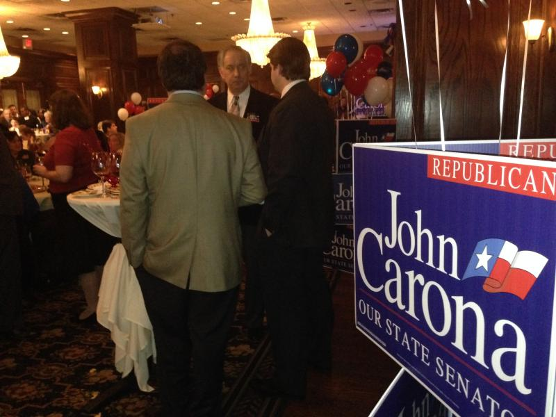 Supporters gathered at John Carona's watch party. The state senator is in a tight race.