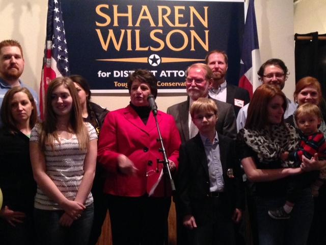 Sharen Wilson addressed supporters tonight in Tarrant County.