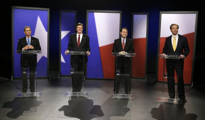 GOP Lt. Governor Candidates faced off on statewide TV in a live debate from KERA's Dallas studios. L to R: Jerry Patterson, Dan Patrick, Todd Staples, David Dewhurst