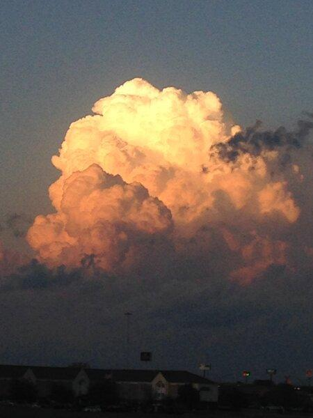 The National Weather Service captured this building cumulus cloud near its Fort Worth office.