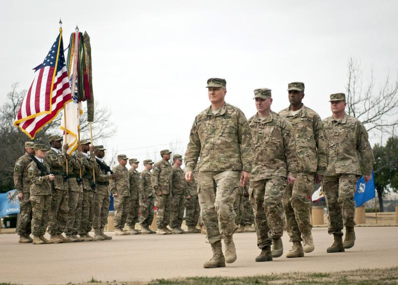 In this picture from February, Lt. Gen Mark Milley, III Corps and Fort Hood's commanding general, and Command Sgt. Maj. Scott Schroeder, III Corps and Fort Hood command sergeant major, returned to Fort hood after a 10-month deployment to Afghanistan.
