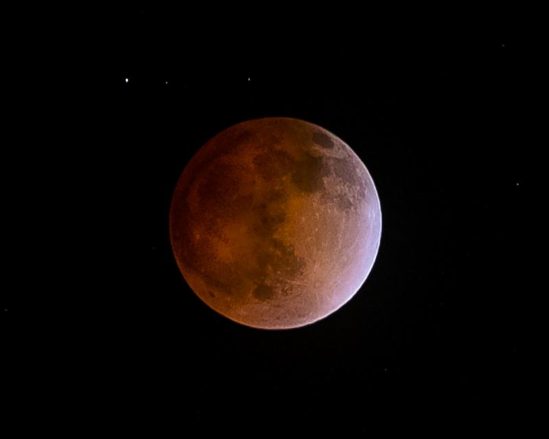 The blood moon over California Tuesday morning.