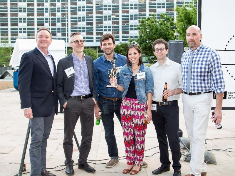 These media folks competed in a game show about Dallas architecture. From left:  James Rose, KERA's Jeff Whittington, Peter Simek, Lauren Smart, Mark Lamster -- and game show host Robert Wilonsky.