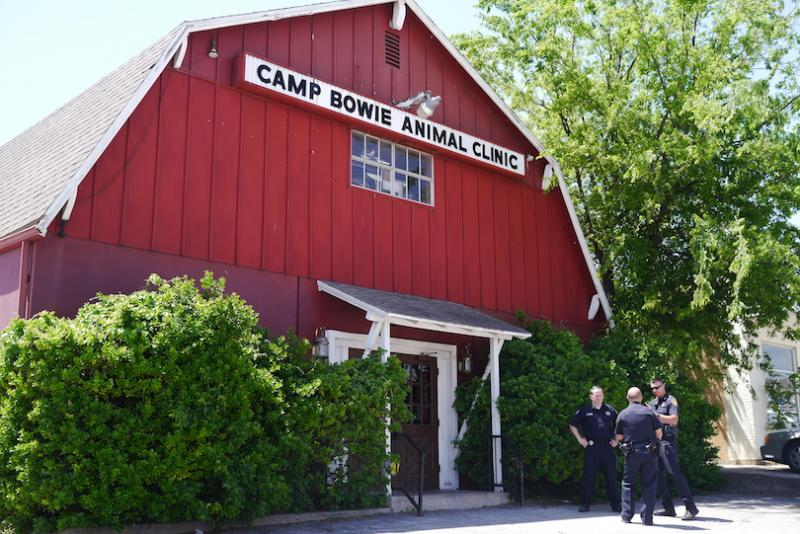 The Camp Bowie Animal Clinic was raided by city and state investigators Tuesday morning.