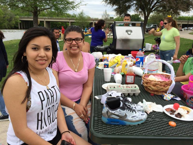 Leslie Briones, in pink, at a White Rock Lake family cookout.