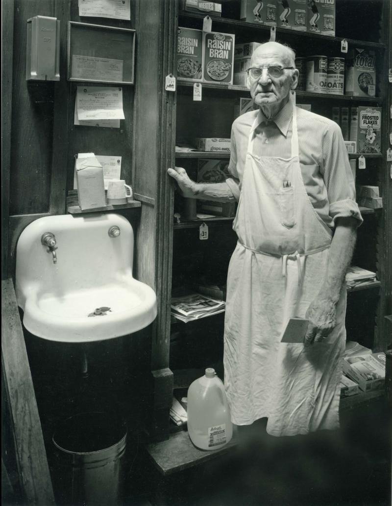 Lloyd Halloran at Turner Dingee Grocery, 1982.
