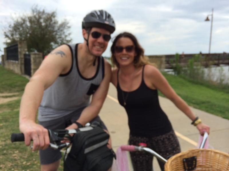 Matt Brooks and Brooke Dudgeon bike at White Rock Lake and oppose the construction of a restaurant.