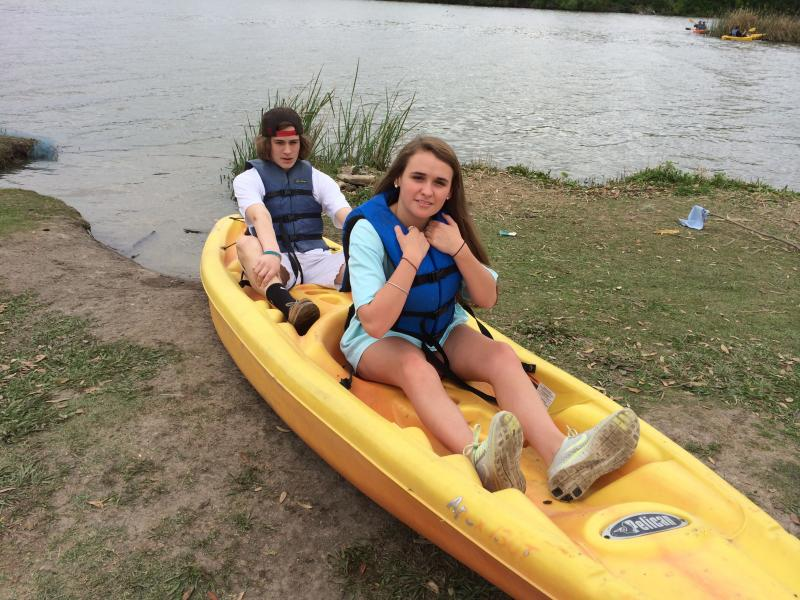Matthew Daseke and Jillian Kaptain kayak at White Rock Lake.