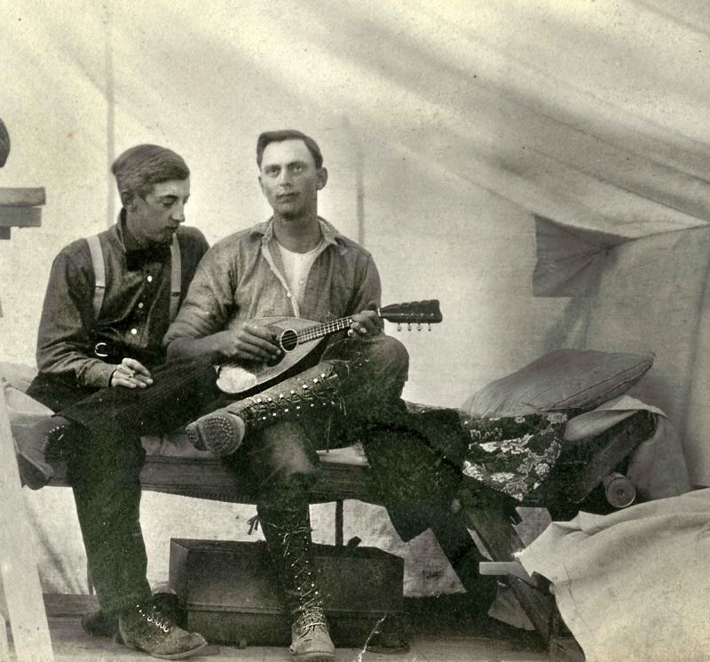 Two men in a tent in Oklahoma in 1915.