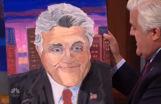 Former President George W. Bush presented this portrait of Jay Leno last fall to the retiring talk show host.