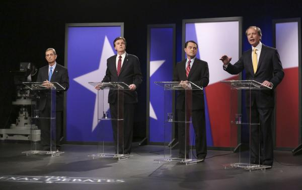The four Republican Texas lieutenant governor candidates faced off in a January debate in the KERA studios. From left: Jerry Patterson, Dan Patrick (who made the May 27 runoff), Todd Staples and incumbent David Dewhurst (also in the runoff).