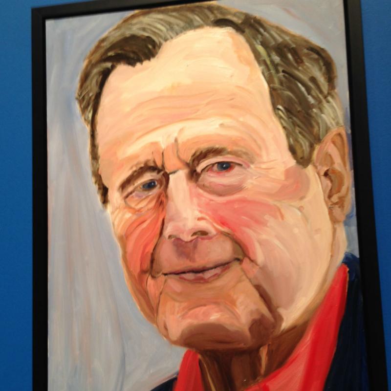 A portrait of former President George H.W. Bush by his son, former President George W. Bush.