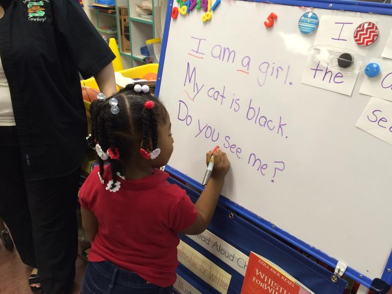 Four-year olds in this Dallas pre-K class learn to identify written words.