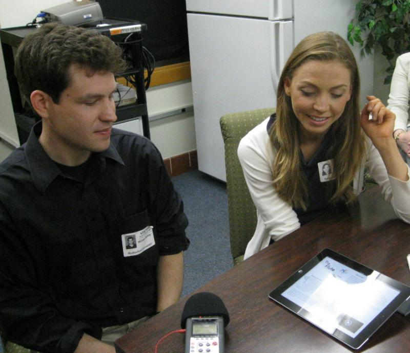 Dallas Chamber Symphony Director Richard McKay and text writer/illustrator Barbara Vance demonstrated the app they wrote for the school.