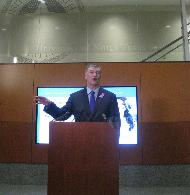 Dallas Mayor Mike Rawlings, at UNT's Dallas Law School,  apologizing for the confusing launch of the home rule school effort. He said more citizens are now involved in discussing the Dallas School system's future, which was one goal when this started