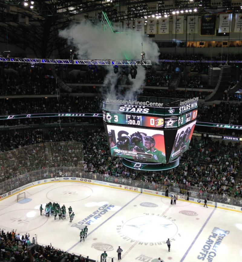 The home ice screen showed the score against Anaheim Monday as the victorious Stars gathered on the ice to celebrate.
