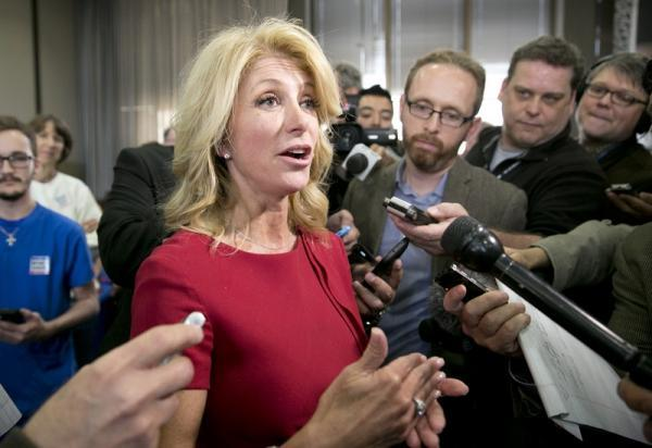 State Sen. Wendy Davis, a Texas gubernatorial candidate, talked with the media in Austin earlier this week.