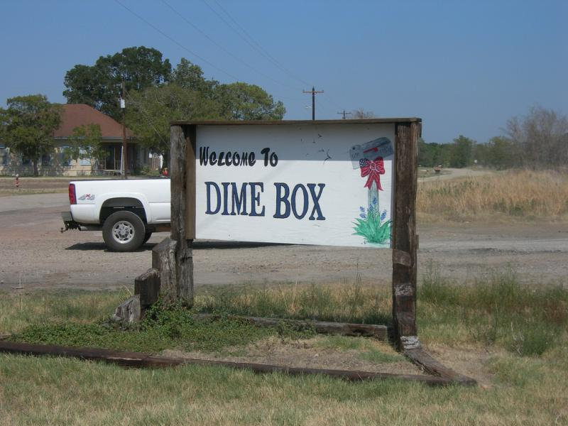 Welcome to Dime Box, Texas, a strange name for a small town in Central Texas.
