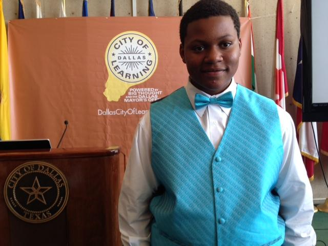 Arnell Davis, 14, is one of the students involved in the newly launched Dallas City of Learning effort. Davis is an 8th grader and says he wants to help kids who don't have much to do during the summer.