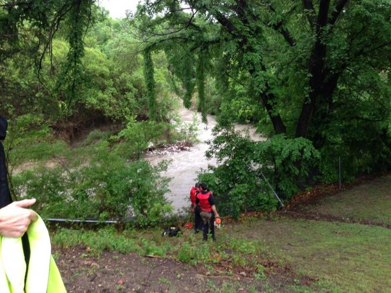 Dallas Fire-Rescue and Dallas police were on the scene of an overflowing creek Thursday morning.