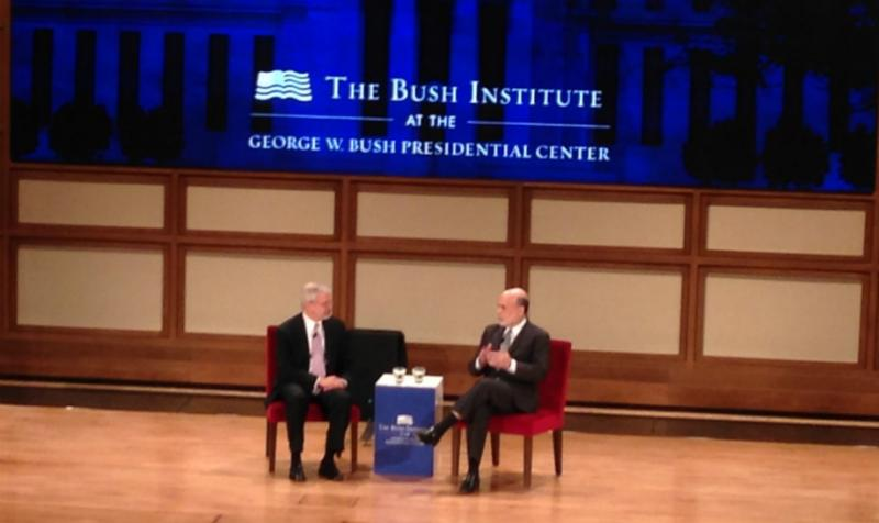 From left: Former Bush Chief of Staff Johsua Bolten interiewed former Fed Chief Ben Bernanke at Monday's Bush Institute conference on monetary policy.