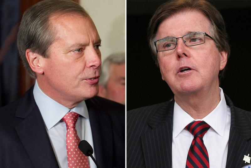 David Dewhurst, left and Dan Patrick, right, debated Wednesday in Dallas.