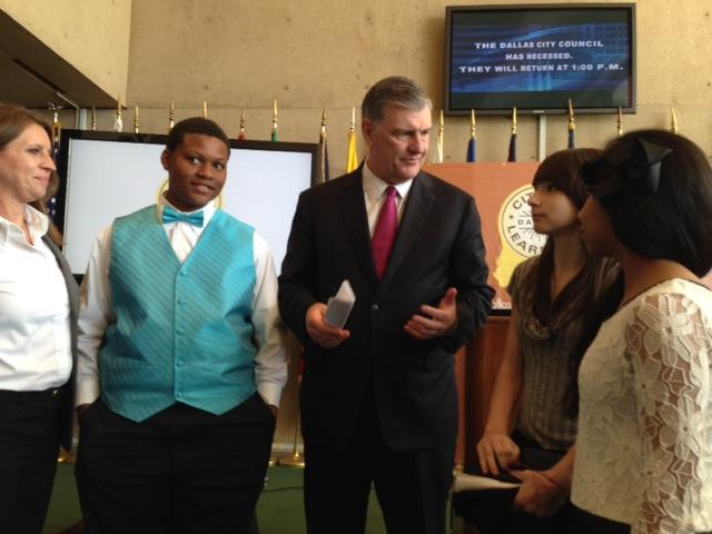 Mayor Mike Rawling spoke with students at Dallas City Hall on Wednesday after announcing the new citywide summer learning initiative.