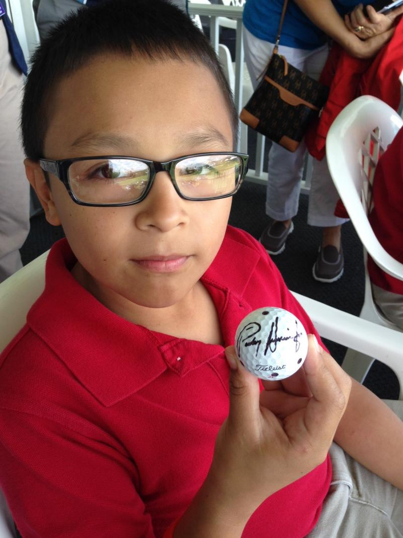Isaac Castillo, 11, got to meet Irish golfer Padraig Harrington at the HP Byron Nelson Championship on Wednesday. He said Harrington let him take a few shots at the ball until he got it in the hole.