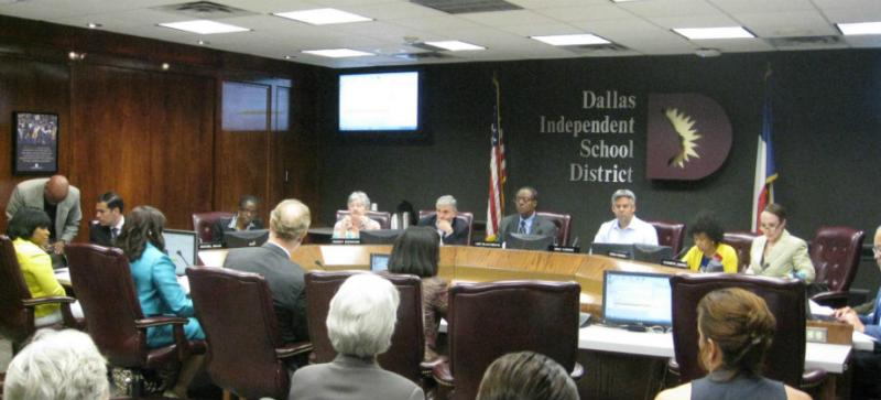 The Dallas school board discusses the process it will use to pick the 15-member charter commission. State law says the board has 30 days to choose a diverse group. The deadline is June 23.