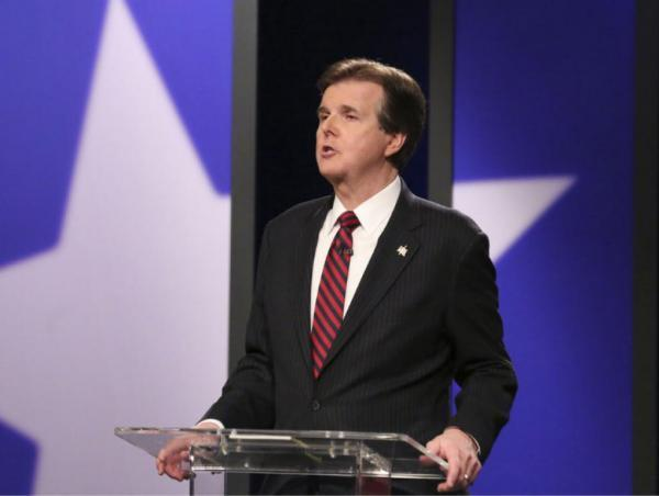 Dan Patrick, who's running for lieutenant governor, during a debate in Dallas in the KERA studios.