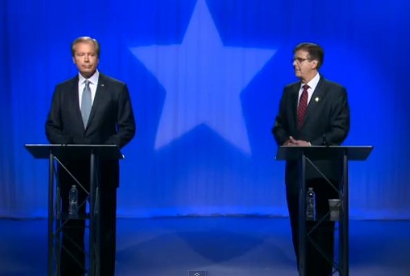 From left: David Dewhurst and Dan Patrick faced off in Friday's Republican lieutenant governor runoff debate.