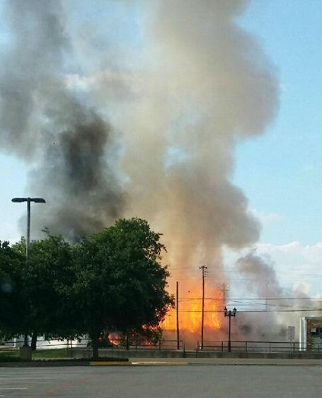 Downtown Athens in Henderson County was evacuated Thursday evening after a fertilizer storage facility caught fire.