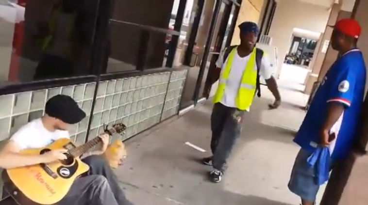 Three musicians who didn't know each other came together for an impromptu song outside a Dallas grocery store – and the video has been viewed more than 10 million times.