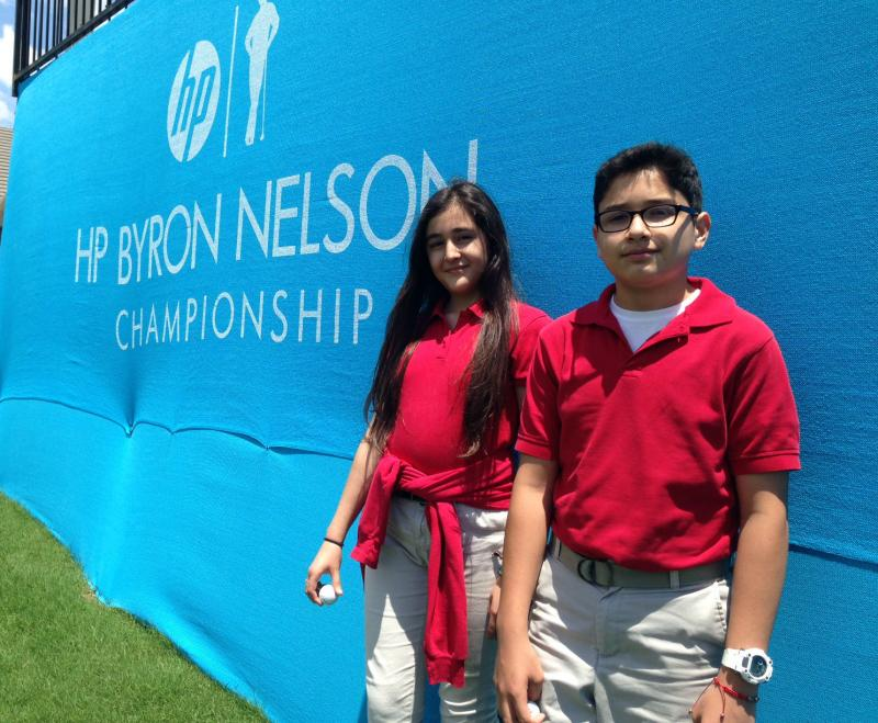 Hedy Rojas and Carrlos Diaz are fifth graders at Momentous Institute's school in Oak Cliff. They and more than two dozen of their classmates learned what it's like to be a caddie at the Byron Nelson golf tournament in Irving.