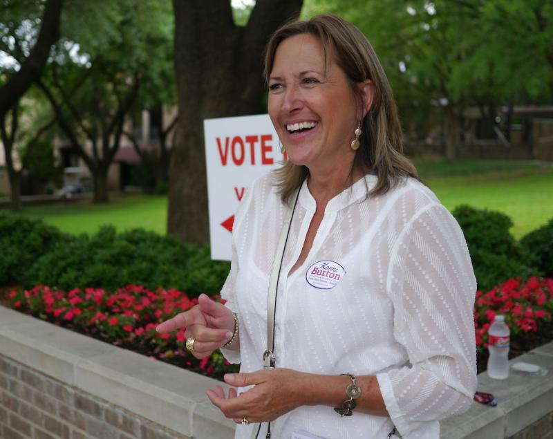 Konni Burton greeted voters Tuesday afternoon. She faces Mark Shelton in the GOP runoff for State Senate District 10 -- The winner faces a Democratic opponent this fall to fill Wendy Davis' seat.