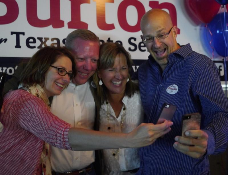 Konni Burton, center, celebrated Tuesday night with supporters in Fort Worth. The Tea Party organizer won big in the GOP runoff for the State Senate District 10 seat.