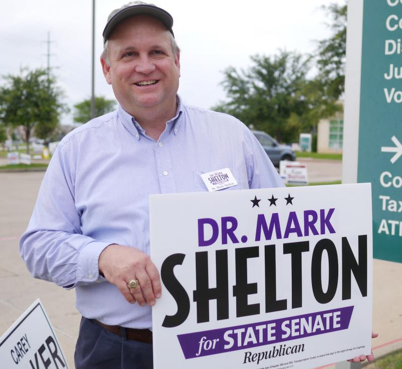 Mark Shelton greeted voters Tuesday afternoon. He faces Konni Burton in the GOP runoff for State Senate District 10 -- The winner faces a Democratic opponent this fall to fill Wendy Davis' seat.