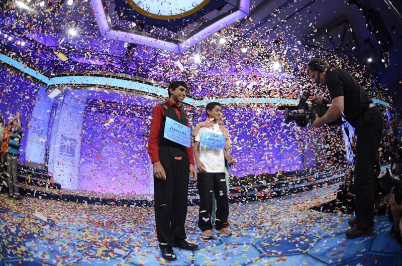 Ansun Sujoe of Euless, left, was named co-champion of the Scripps National Spelling Bee on Thursday night. It's the first time since 1962 that the bee has named co-champions.