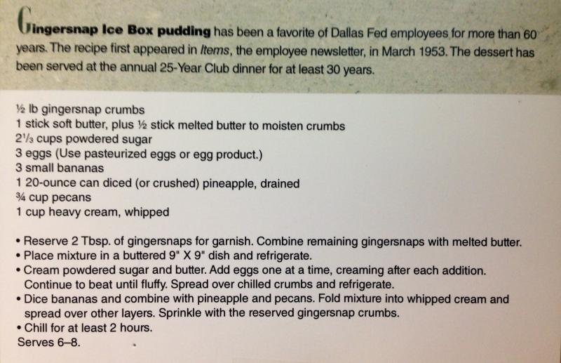 The recipe for gingersnap icebox pudding that Dallas Fed employees have used for 60 years.