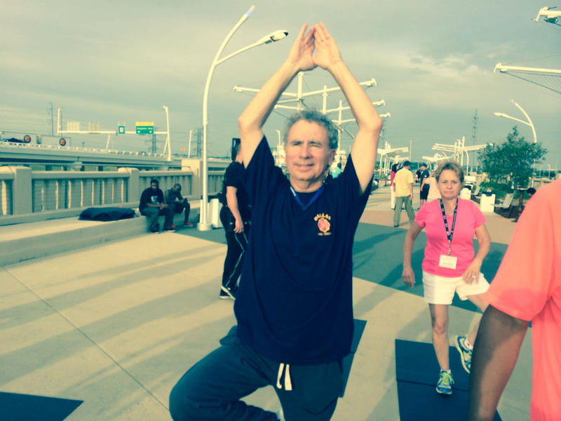 The opening of the Continental Bridge Park in 2014 gave city manager A.C. Gonzalez a chance to show off his yoga skills.