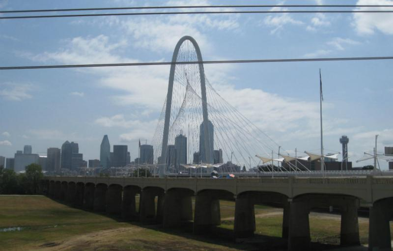 The foreground view of the Continental Bridge and Dallas' modern Margaret Hunt Hill Bridge behind it.  The Continental Bridge Park officially opens Sunday.