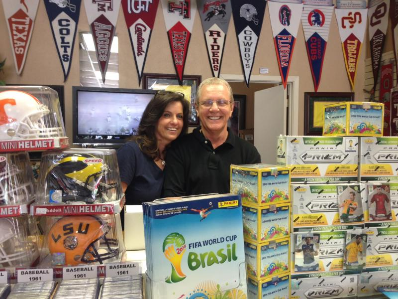 Debbie and Nick have run Nick's Sports Cards in Dallas since 1989. They say this year, World Cup collectibles have taken off.