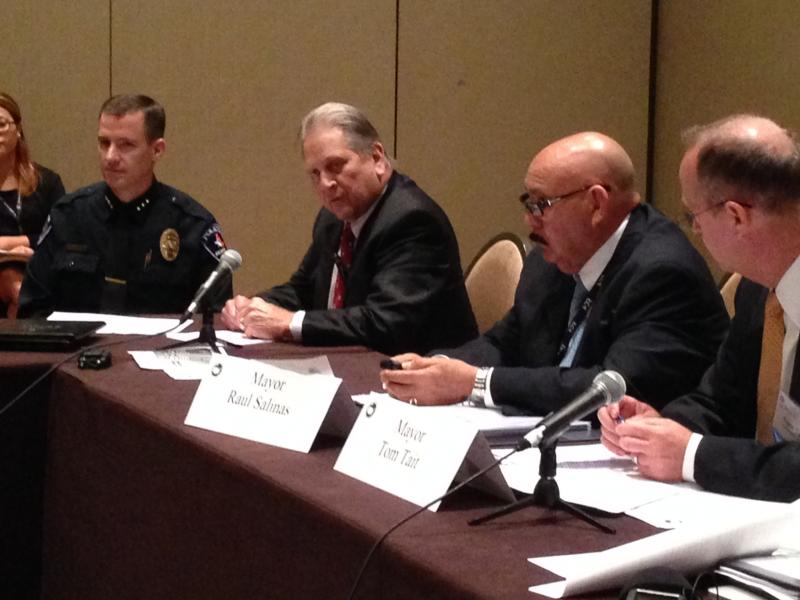 Arlington Police Chief Will Johnson and  Mayor Robert Cluck joined a panel of other mayors and law enforcement officials on Sunday to talk about the growing number of children crossing the border alone.