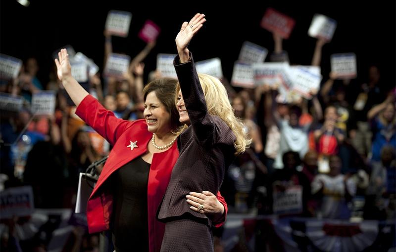 Leticia Van de Putte, left, and Wendy Davis, greeted the crowds at the Texas Democratic Convention in Dallas on Friday night.