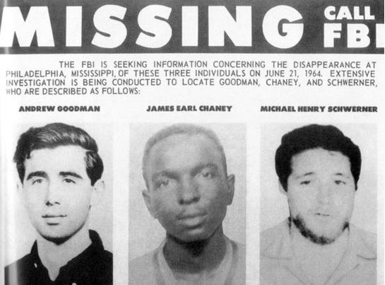 On June 21, 1964, three civil rights workers, Michael Schwerner, James Chaney and Andrew Goodman, went missing near Philadelphia, MS, bringing nationwide attention to Mississippi and the Freedom Summer project.