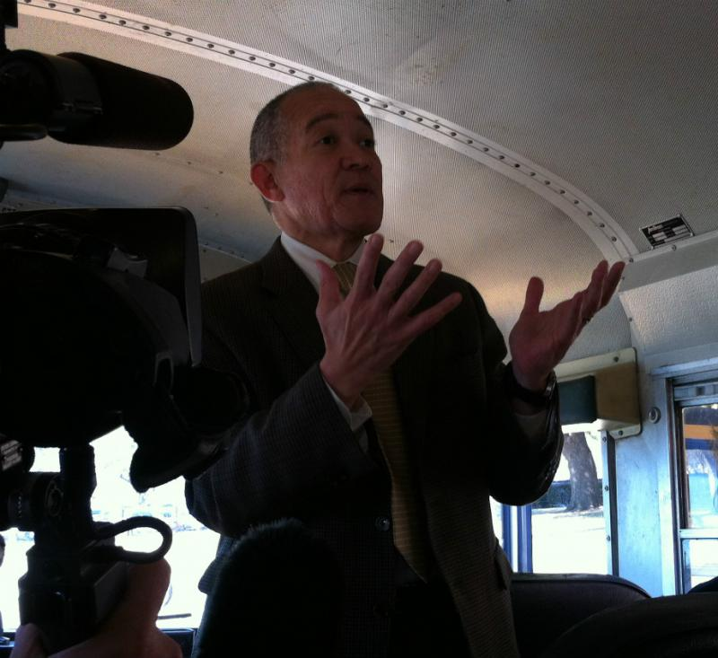 Dallas ISD Superintendent Mike Miles explaining the Destination and Imagine 2020 plans to a bus full of reporters some weeks back. On Tuesday, Miles will present the next round of his school improvement plans