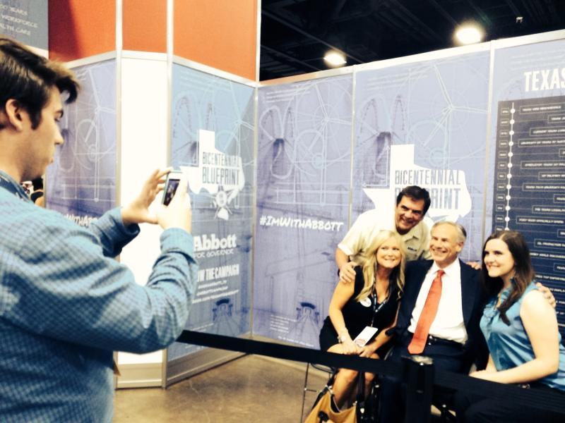 Supporters of Greg Abbott posed for pictures with the Republican governor nominee.