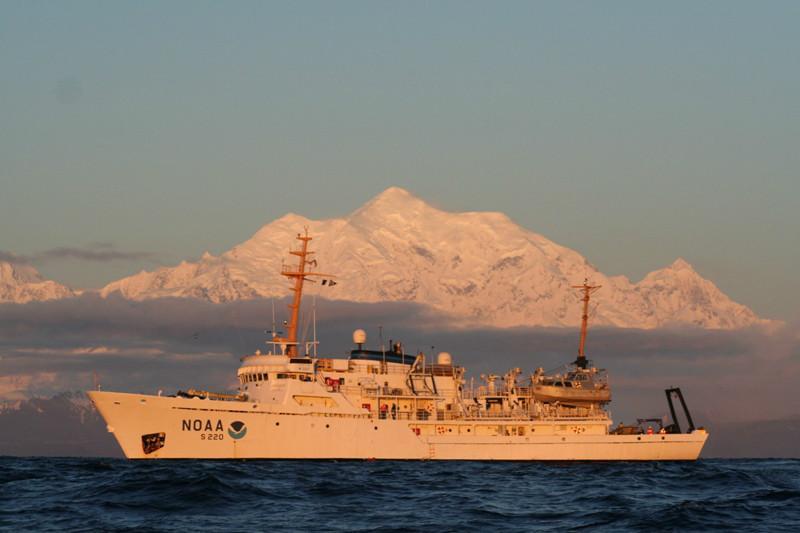 NOAA research vessel Fairweather left port Monday from Kodiak, Alaska. DISD science teacher Dana Clark is on board to help map the Alaskan waters and coast.
