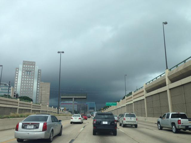 Dark storm clouds rolled through Dallas Wednesday afternoon.
