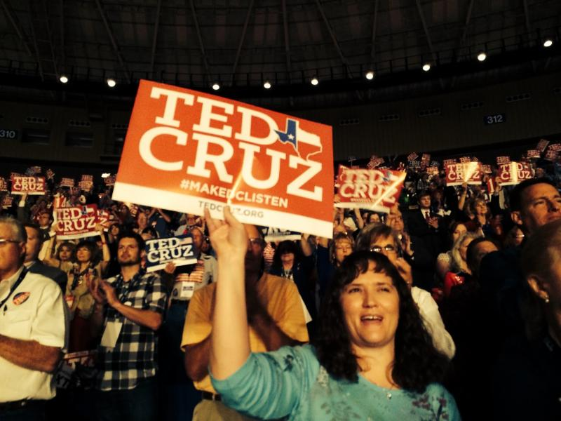 A Ted Cruz supporter in the crowd at the Texas Republican Convention.
